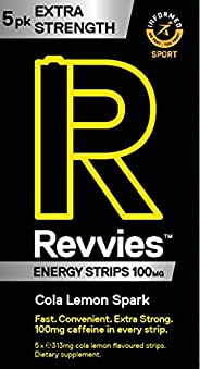 Revvies Extra Strength Energy Strips | Cola Lemon | 30 Strips | 100mg Caffeine Strip | 1 Strip = 1.25 x Energy