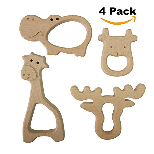 Hombae Wooden Teether Rings Natural Wood Teething Toys for Infant, Wooden Teether Animals for Toddler, Soothing Pain Relief Toys, Baby Shower Gift (Giraffe, Cow, Hippo, Deer, 4Pack) - Baby Natural Wood
