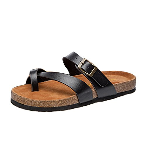 Peep del Plano Mujeres con Zapatillas On Cayuan Playa Chanclas Sandalias Slip Verano Hebilla Zapatilla Toe Negro Metálico Corcho Zapatos wR18OtOq