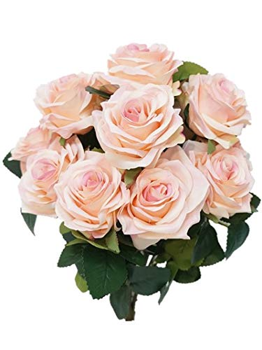 (Sweet Home Deco 18'' Princess Diana Rose Silk Artificial Flower Valentine's Day (10 Stems/10 Flower Heads), the Most Beautiful Roses for Wedding/Home Decor (Pink))