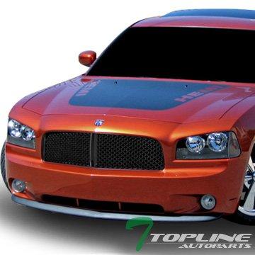 Topline Autopart Matte Black Mesh Front Hood Bumper Grill Grille Guard Abs For 05   06 10 Dodge Charger