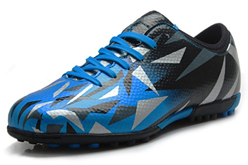High Step Agility Trainer (T&B Turf Soccer Shoes Kids Football Firm Ground Sky Blue Black No.76516-TL-32-1.5US)