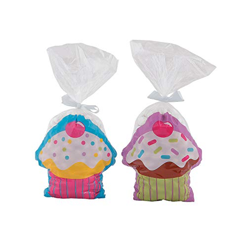 Fun Express Cupcake Party Cellophane Bags | 12 Count | Great for Dessert Themed Birthday Party, Baby Shower, Wedding Reception, Prizes & Favors ()