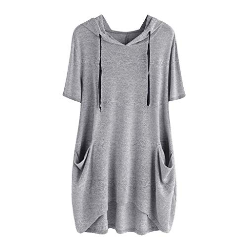 NEEKEY Women Casual Solid Cat Ear Hooded Short Sleeves Pocket Top Blouse Shirt Plus Size Gray