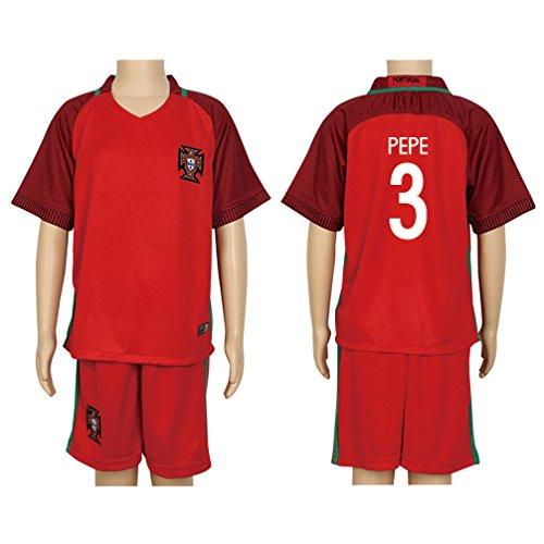 Santa Real Name - 2016 UEFA Euro #3 Pepe Red Home Kids Soccer Jersey & Short Kit Set