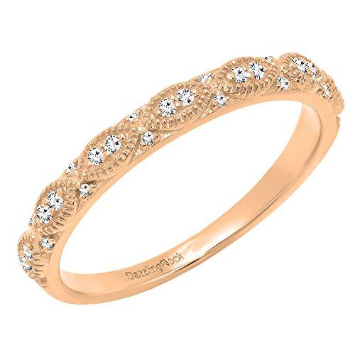 0.12 Carat (ctw) 18K Rose Gold Round White Diamond Ladies Anniversary Wedding Band (Size 6.5) - 0.12 Ct Natural