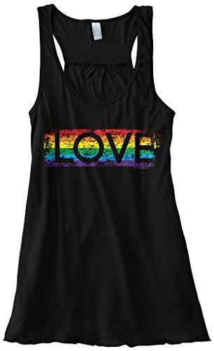 Rainbow Womens Tank Top - Threadrock Women's Gay Pride Rainbow Love Flowy Racerback Tank Top XL Black