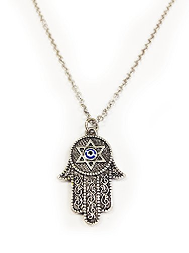 LuckyEye 3028 Hamsa Hand Star Of David Pendant (Designer Star Of David Necklace)
