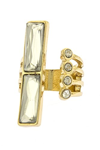 THE JEWEL RACK RECTANGLE JEWEL KNUCKLE RING (Clear/Gold)