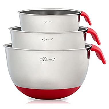 Chef Essential Stainless Steel Non-Slip Mixing Bowls Set with Handles and Pour Spouts, Set of 3, Red