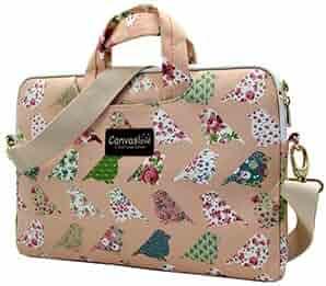 Canvaslove Pink Bird Pattern Canvas Laptop Shoulder Messenger Bag Case Sleeve Briefcase for 14 Inch 14.0 Inch 15 Inch 15.6 Inch Laptop Macbook Pro 15 Case Bag