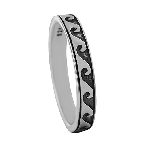 Sterling Silver Skinny Wave Ring Size 6