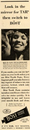 1935-ad-bost-toothpaste-tar-stain-remover-woman-mirror-original-print-ad
