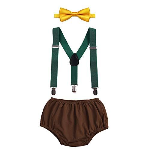IDOPIP Pasgeboren Baby Jongens 1e /2e Verjaardag Party Cake Smash Outfits Shorts PP Broek Bloomers + Y-Back Bretels…