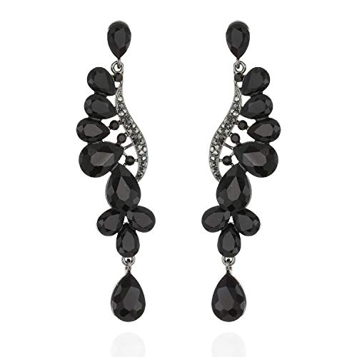 Flare Cascade Dangle Austrian crystal Accented Tear Drop Earrings in ()