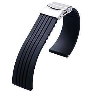 YISUYA 22mm Waterproof Silicone Rubber Watch Strap Band Deployment Buckle for Citizen LG G-watch Seiko from YISUYA