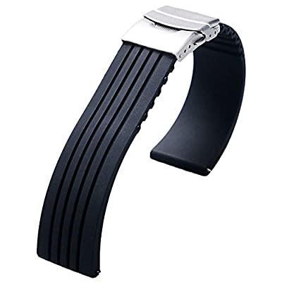 YISUYA 22mm Waterproof Silicone Rubber Watch Strap Band Deployment Buckle for Citizen LG G-watch Seiko from YISUYA