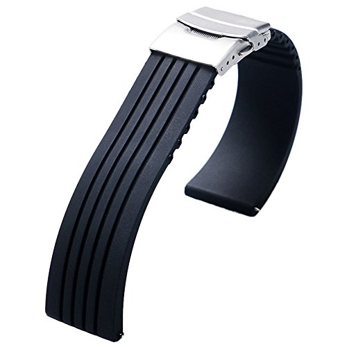YISUYA 22mm Waterproof Silicone Rubber Watch Strap Band Deployment Buckle for Citizen LG G-watch Seiko ()