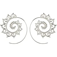 Womens Earrings, Sacow Vintage Plated Spiral Heart Shaped Earring Charm Unique Women Party Earrings Jewelry Accessories (Silver)
