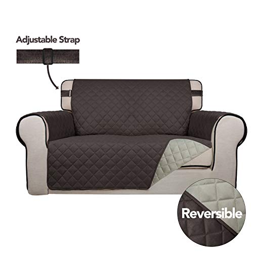 PureFit Reversible Quilted Sofa Cover, Spill, Water Resistant Slipcover Furniture Protector, Washable Couch Cover with Non Slip Foam and Adjustable Strap for Kids, Pets (Loveseat, Chocolate/Beige)
