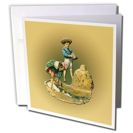 3dRose BLN Vintage Nautical Illustrations Collection - Little Boy and Girl Building a sand Castle with a Moat - 1 Greeting Card with envelope (gc_170670_5)