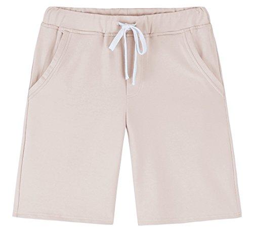 Janmid Men's Casual Classic Fit Cotton Elastic Jogger Gym Shorts (Beige, L)