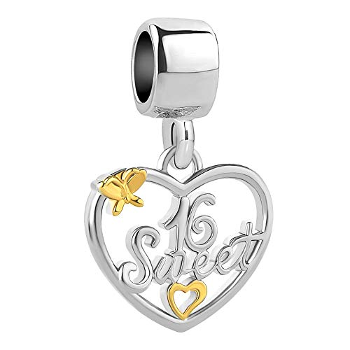 (LovelyJewelry Sweet 16 Heart Dangle Charms Beads for Bracelet)