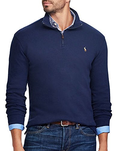 French Rib Sweater - RALPH LAUREN Polo Men's Estate-Rib Cotton Mock Neck Half Zip Pullover Sweater (French Navy, XX-Large)
