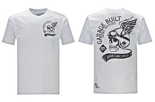 Johnson T-shirt Motors - Saint Motors T-Shirt 'Garage Built Co. White/Black (Medium)