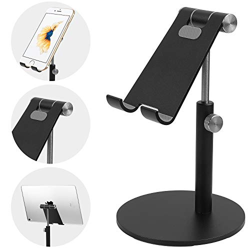 smartelf Tablet Stand,Angle & Height Adjustable Aluminium Phone Stand Dock Mount Desktop Cellphone Holder for Desk,Compatible with 4-12.9 inch iPad iPhone Samsung Nintendo Switch Kindle-Black