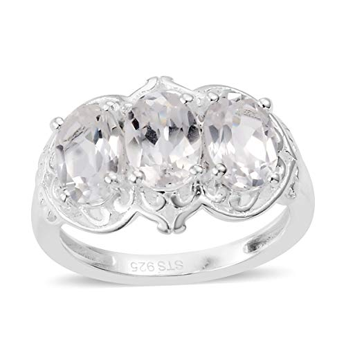 (925 Sterling Silver Oval Created White Sapphire Statement Ring for Women Size 9 Cttw 2.6)