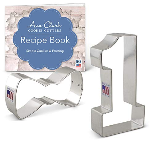 - Boy's 1st Birthday Cookie Cutter Set with Recipe Booklet - 2 piece - Bow Tie & Large Number One - Ann Clark - USA Made Steel