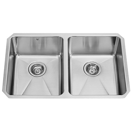 VIGO VG2918 29 inch Undermount 16 Gauge 50/50 Double Bowl Stainless Steel Kitchen Sink, Commercial Grade Kitchen Sink, with Rounded Corners and SoundAbsorb Technology