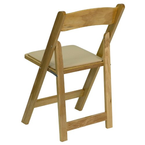 Flash Furniture HERCULES Series Natural Wood Folding Chair with Vinyl Padded Seat by Flash Furniture (Image #2)