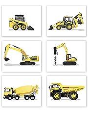 AtoZStudio Boy Bedroom Decor - Set of 6 Prints // Truck Nursery Posters // Toddler Room Wall Art // Dump Drill Cement Truck Excavator Digger // Party Decoration (8x10, Set 6)