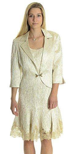 - Joseph Ribkoff Women's Floral Jacquard Shift Dress/Jacket Set in Champagne, 14