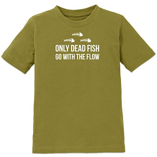 Shirtcity Only Dead Fish Go With The Flow Kids' T-shirt 134-146 Green