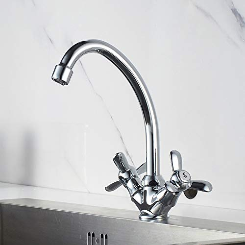 Küchenhahn Spüle Wasserhahn Drehdüse verchromt Spule heißer und kalter Wasserhahn