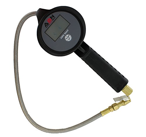 ABN Digital Tire Inflator Gauge with Stainless Steel Braided Hose, Straight Lock-On Air Chuck Backlit Screen