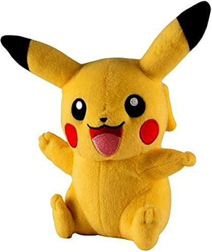 TOMY Pokemon Pikachu 7-Inch Plush SG/_B01HVA5LOQ/_US Sitting Open Mouth, Waving, Other Arm Up