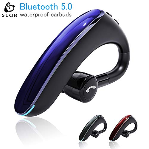SLUB Bluetooth Headset,Wireless Headset V5.0 Bluetooth Phone Earpiece Business Earphones Sweatproof Headphones with in-Ear Earbuds Hands Free Bluetooth for Cell Phone (Blue, Small)