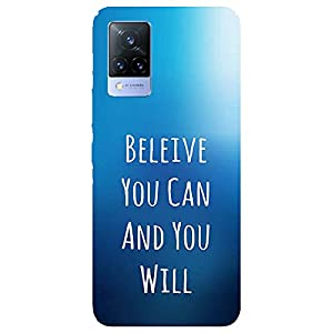 SmartNxt® Designer Printed Soft Plastic Mobile Cover for Vivo V21 5G  Quotes/Messages  Blue  Believe U can and U Will