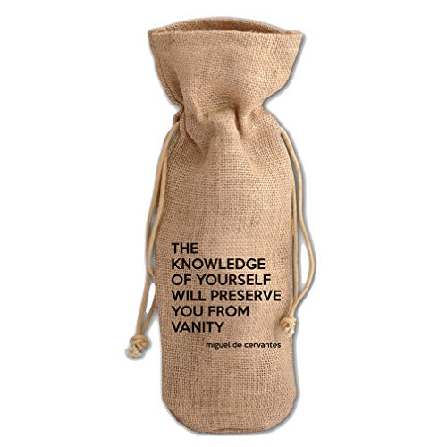 You From Vanity (Miguel De Cervantes) Jute Burlap Wine Drawstring Bag