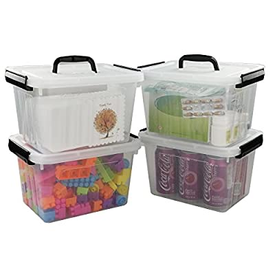 Kekow 6 Quart Clear Storage Latch Box, 4-pack