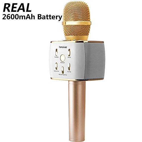 Karaoke Microphone with Bluetooth Wireless Speaker Rechargeable Mini Handheld MIC KTV Machine supports iOS and android smartphone iPad tablet - Wireless Karaoke Microphones