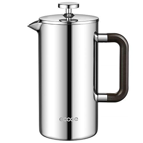 Ecooe Doppelwandiger French Press 1L Kaffeebereiter Edelstahl Kaffeekanne