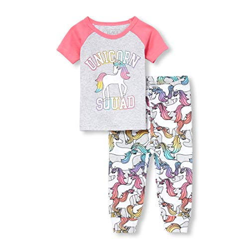 The Children's Place Baby Girls Novelty Printed Pants Pajama Set, Heather/T Lunar 2T