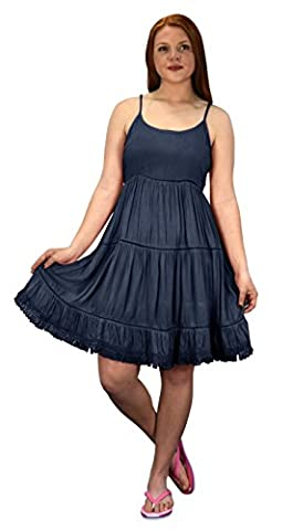 Peach Couture Womens Spaghetti Strap Tiered A line Dress with Fringed Hem (Medium, Navy) - Couture Formal Dresses
