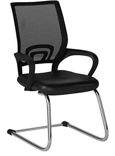 Flash Furniture Black Mesh Side Reception Chair with Leather Seat and Sled Base by Flash Furniture (Image #5)