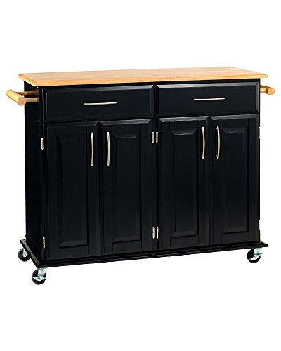 Home Styles Dolly Madison Kitchen Island Cart with Wood Top, Black Finish & Free Premium Stainless Steel Locking Tongs